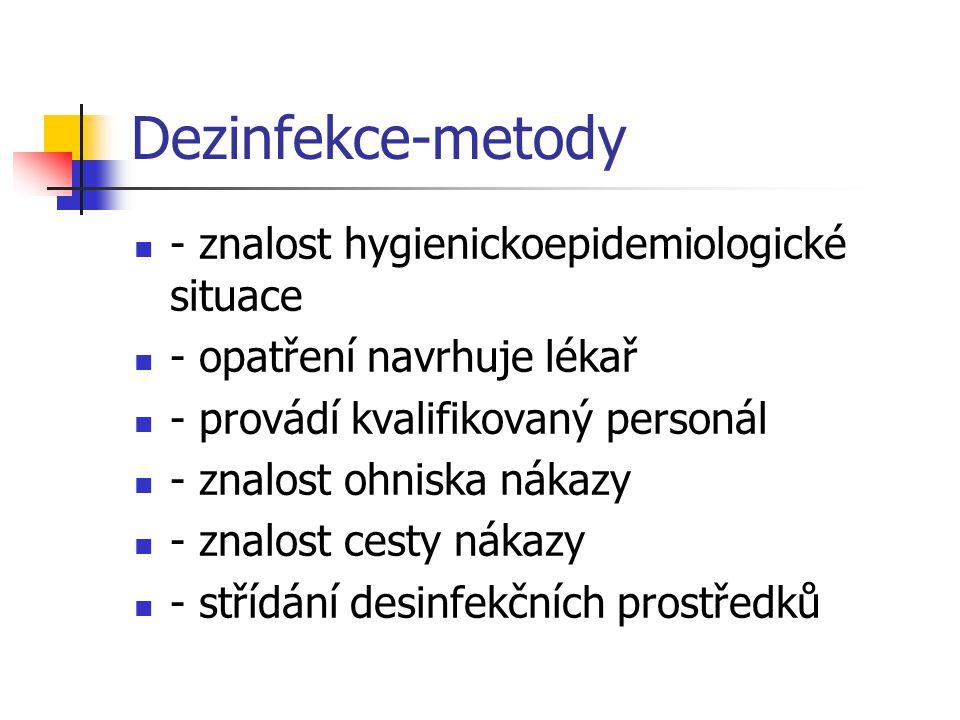 Dezinfekce-metody - znalost hygienickoepidemiologické situace