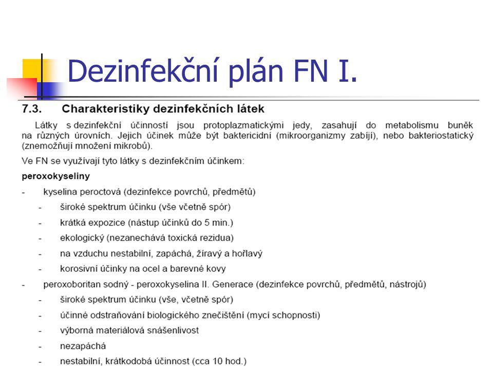 Dezinfekční plán FN I.