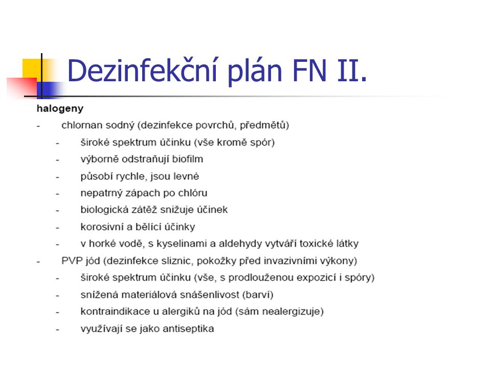 Dezinfekční plán FN II.