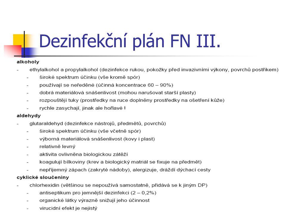 Dezinfekční plán FN III.