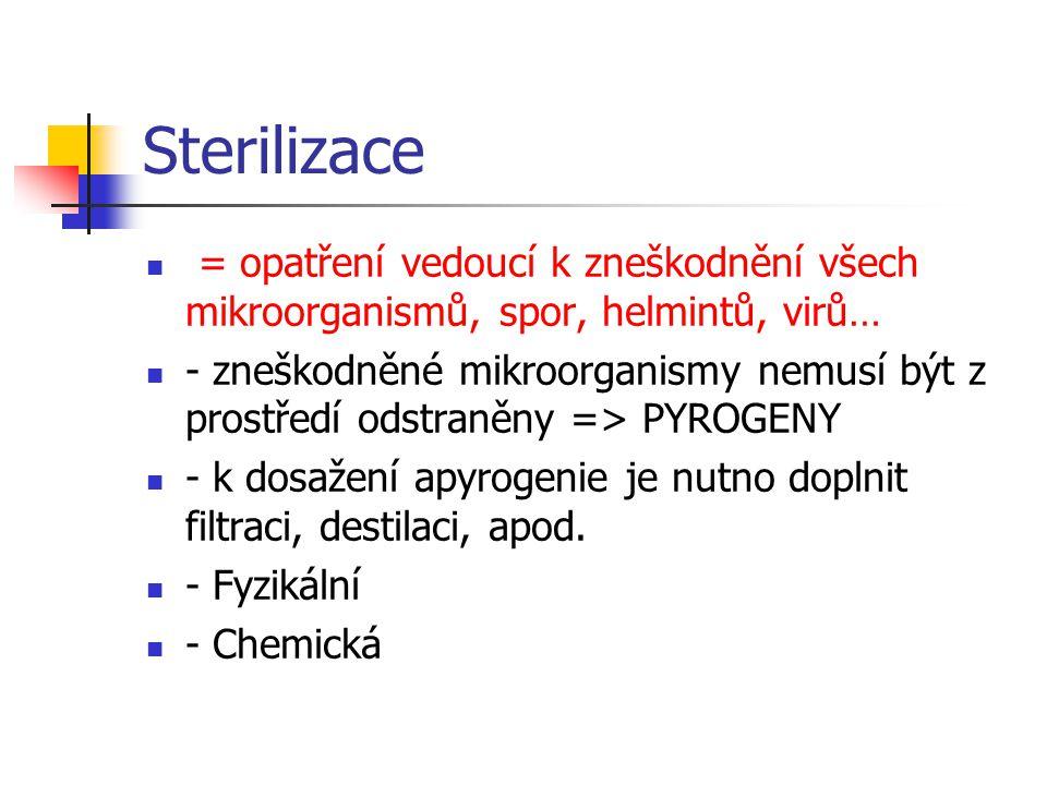 Sterilizace = opatření vedoucí k zneškodnění všech mikroorganismů, spor, helmintů, virů…
