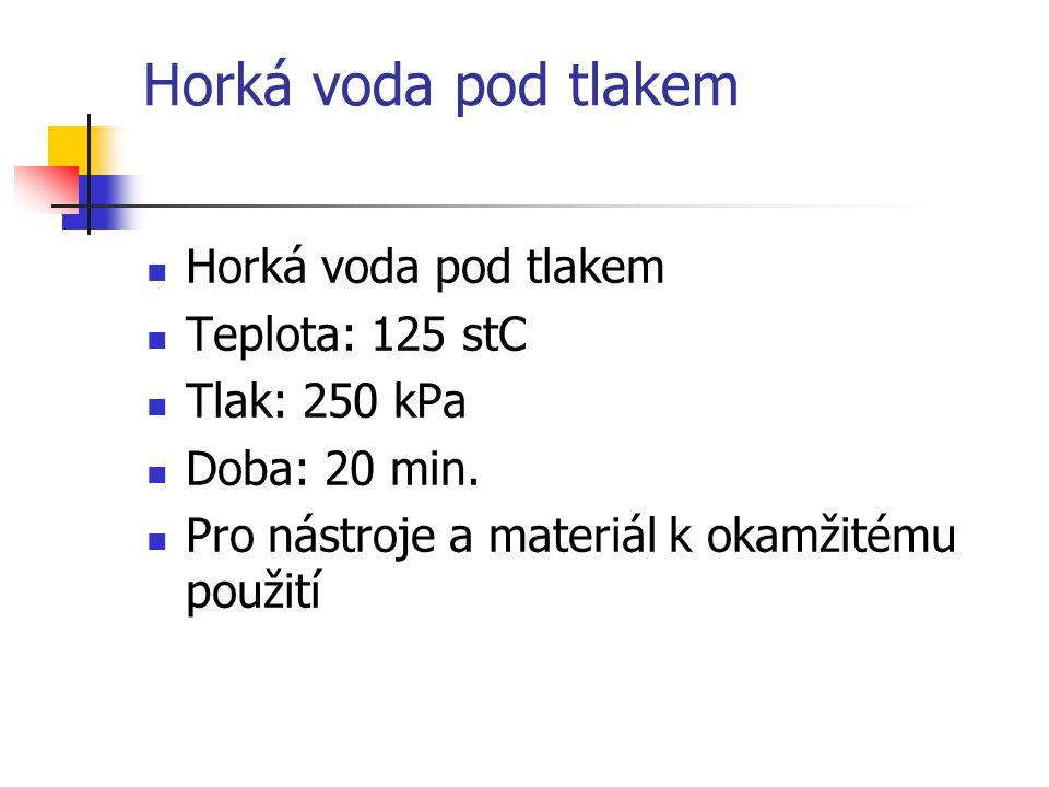 Horká voda pod tlakem Horká voda pod tlakem Teplota: 125 stC