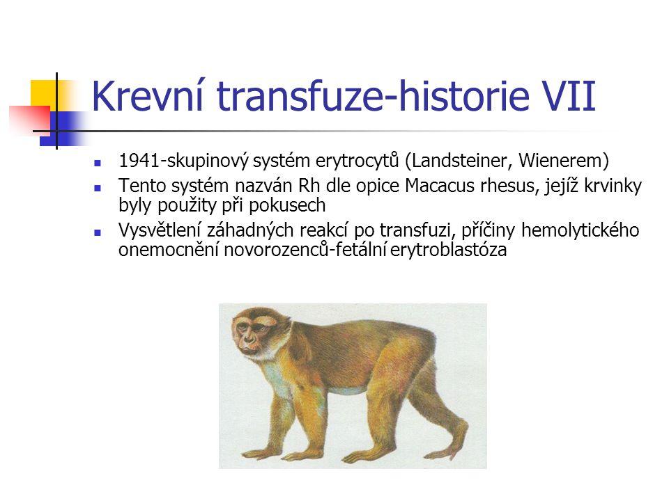 Krevní transfuze-historie VII