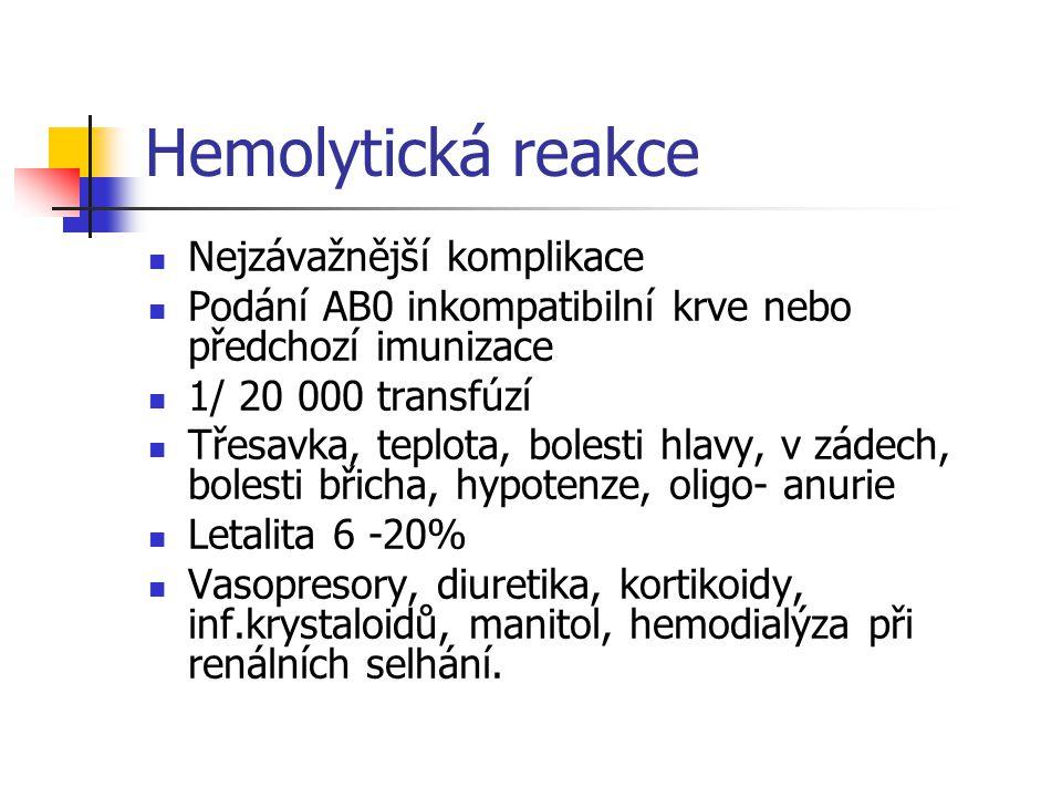 Hemolytická reakce Nejzávažnější komplikace