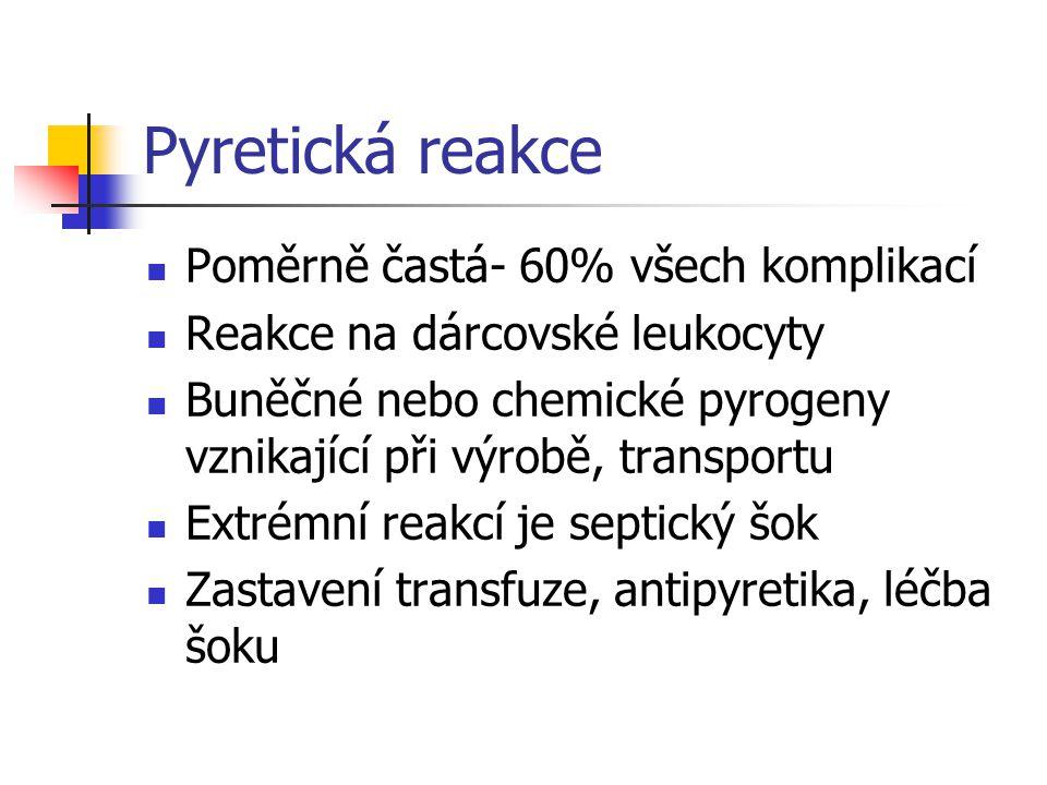 Pyretická reakce Poměrně častá- 60% všech komplikací