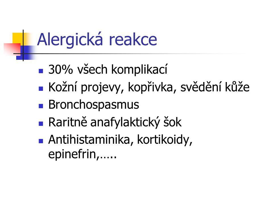 Alergická reakce 30% všech komplikací