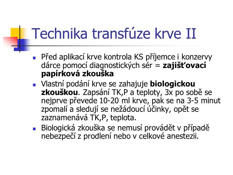 Technika transfúze krve II
