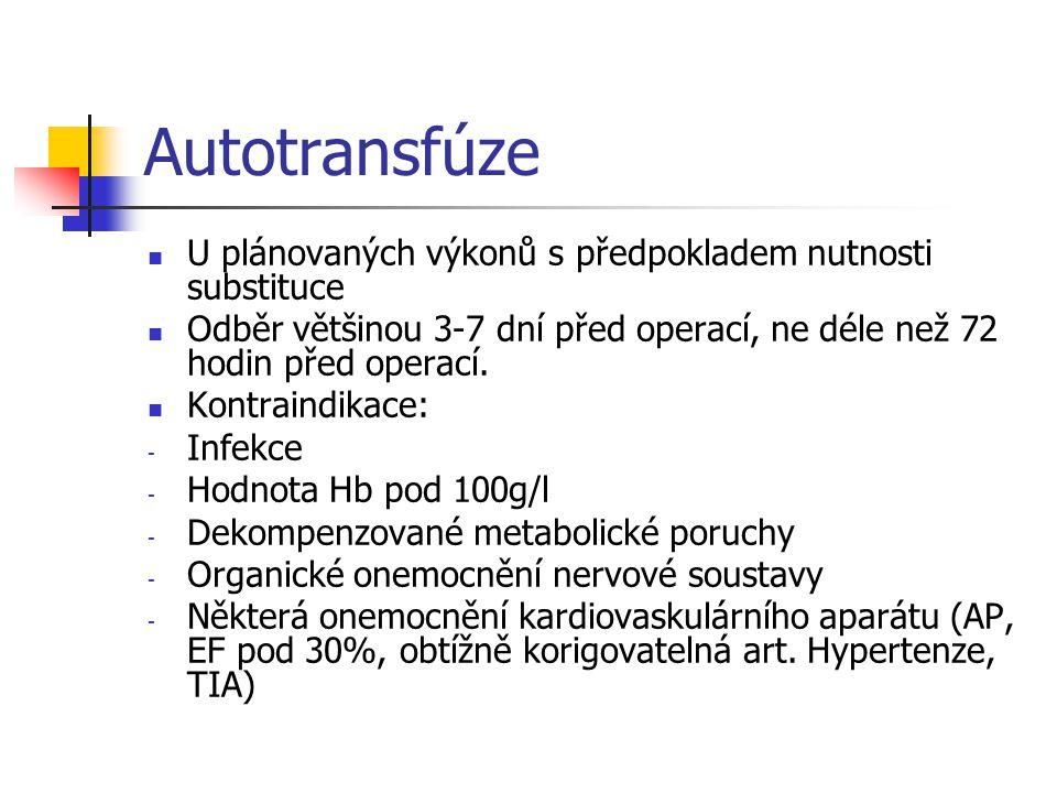 Autotransfúze U plánovaných výkonů s předpokladem nutnosti substituce
