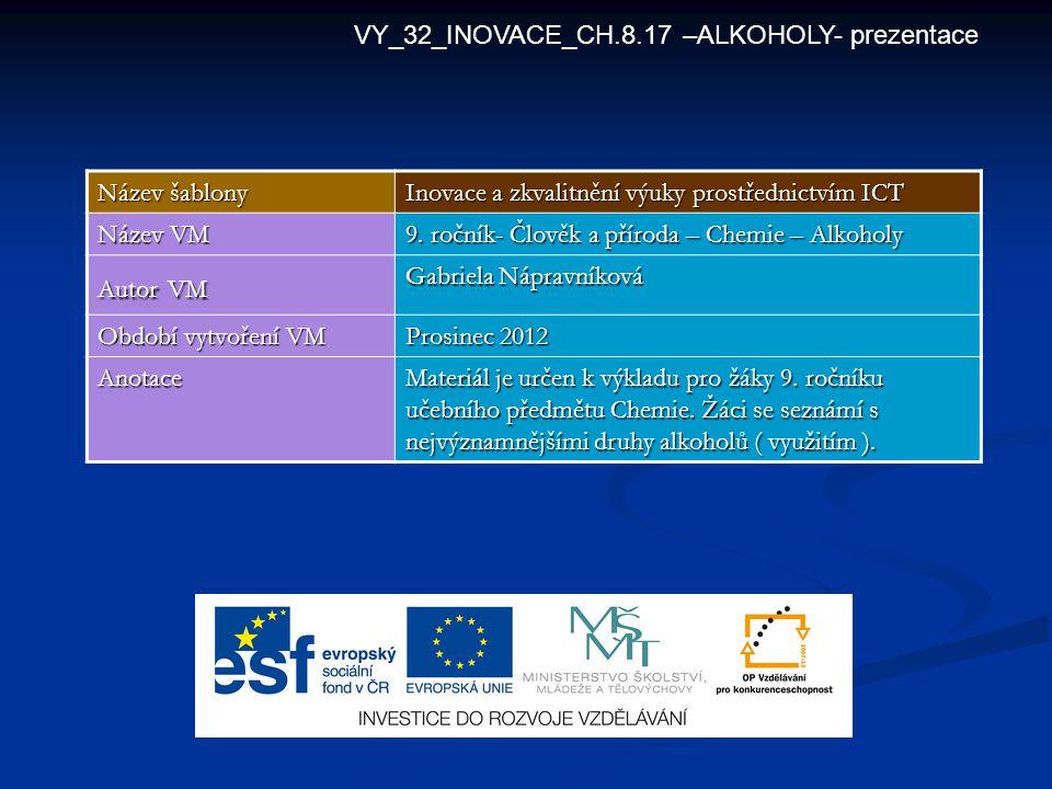 VY_32_INOVACE_CH.8.17 –ALKOHOLY- prezentace