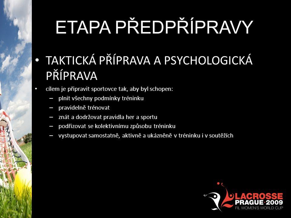 Etapa předpřípravy TAKTICKÁ PŘÍPRAVA A PSYCHOLOGICKÁ PŘÍPRAVA