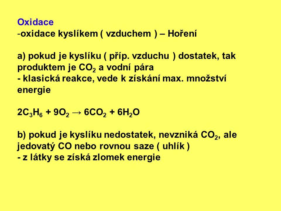 Oxidace oxidace kyslíkem ( vzduchem ) – Hoření. a) pokud je kyslíku ( příp. vzduchu ) dostatek, tak produktem je CO2 a vodní pára.