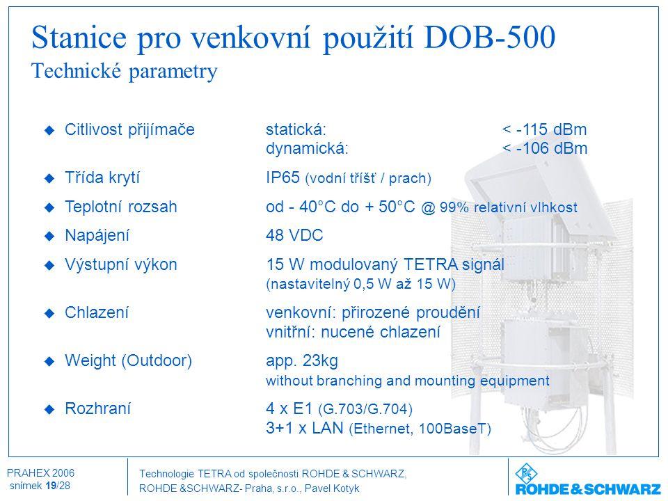 Stanice pro venkovní použití DOB-500 Technické parametry