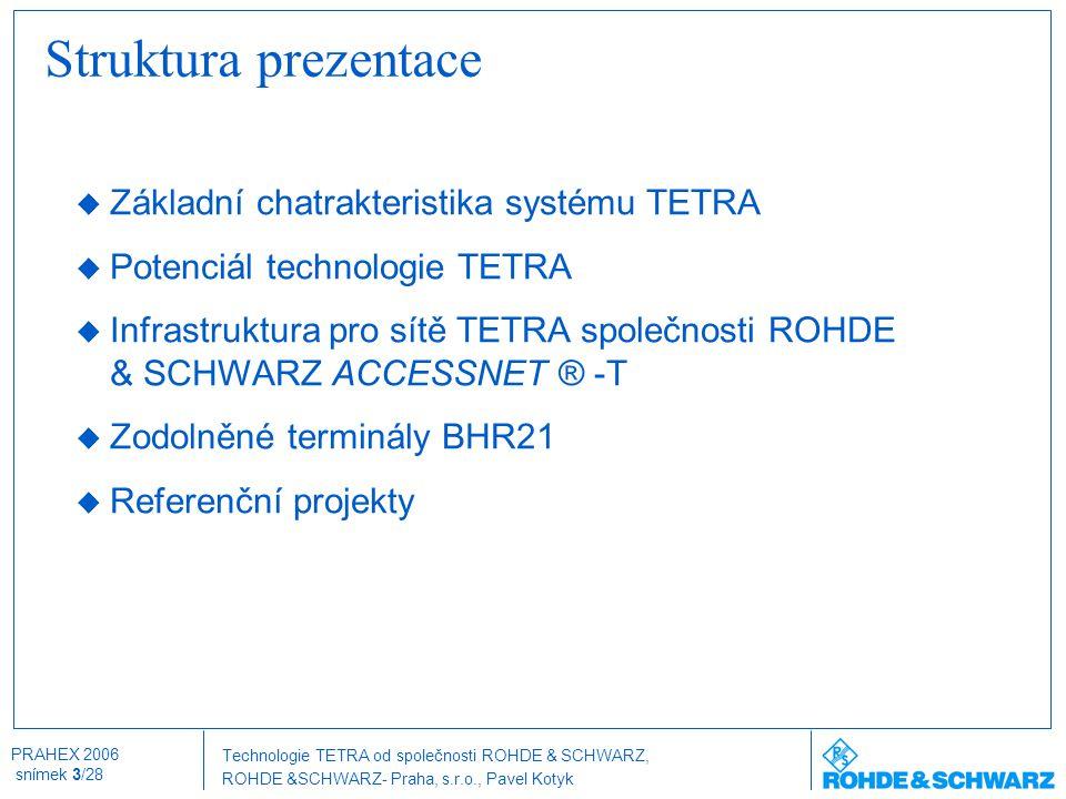 Struktura prezentace Základní chatrakteristika systému TETRA