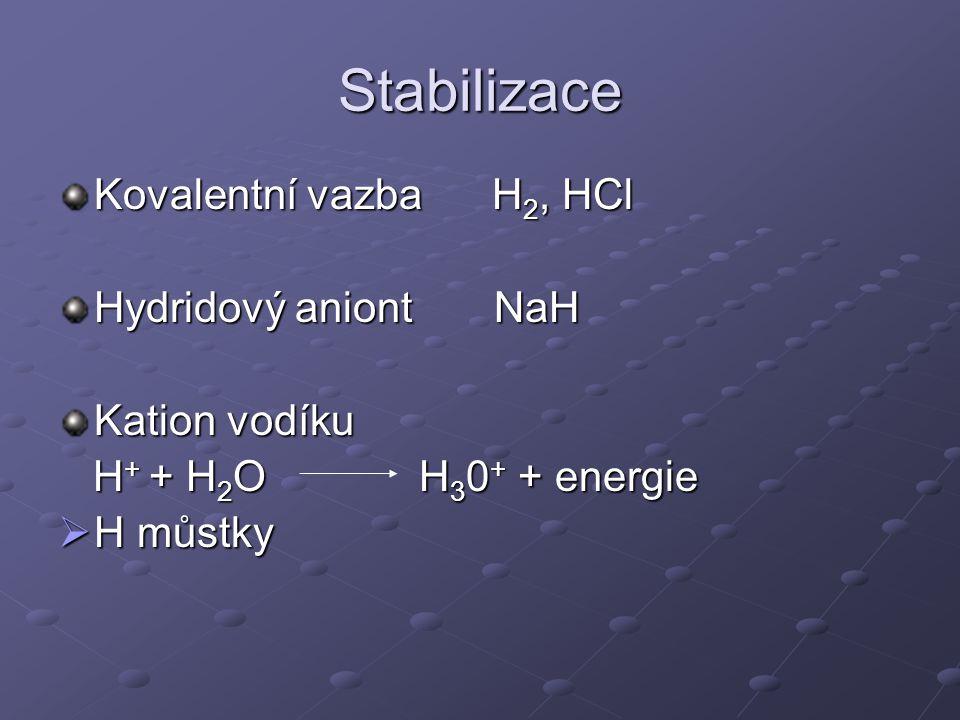 Stabilizace Kovalentní vazba H2, HCl Hydridový aniont NaH