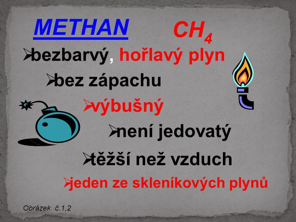 METHAN CH4 bezbarvý, hořlavý plyn bez zápachu výbušný není jedovatý