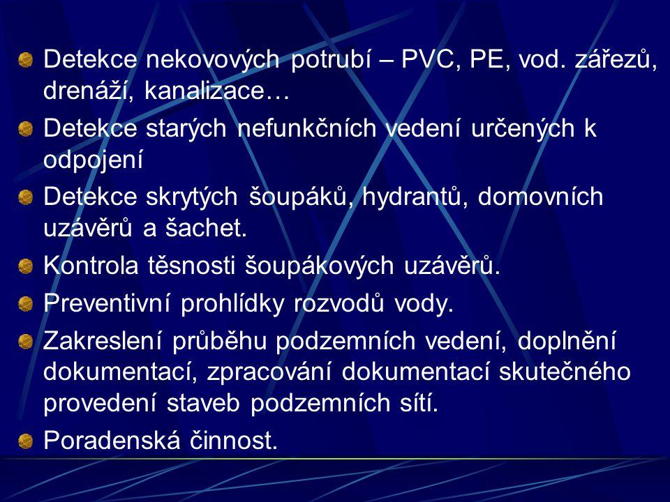 Detekce nekovových potrubí – PVC, PE, vod. zářezů, drenáží, kanalizace…