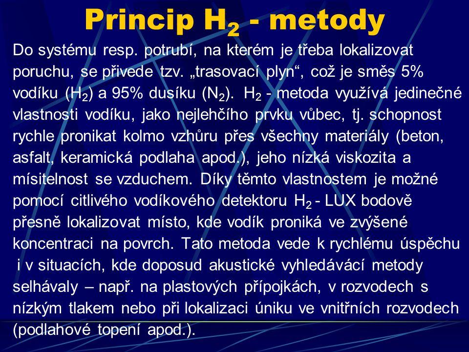 """Princip H2 - metody Do systému resp. potrubí, na kterém je třeba lokalizovat. poruchu, se přivede tzv. """"trasovací plyn , což je směs 5%"""