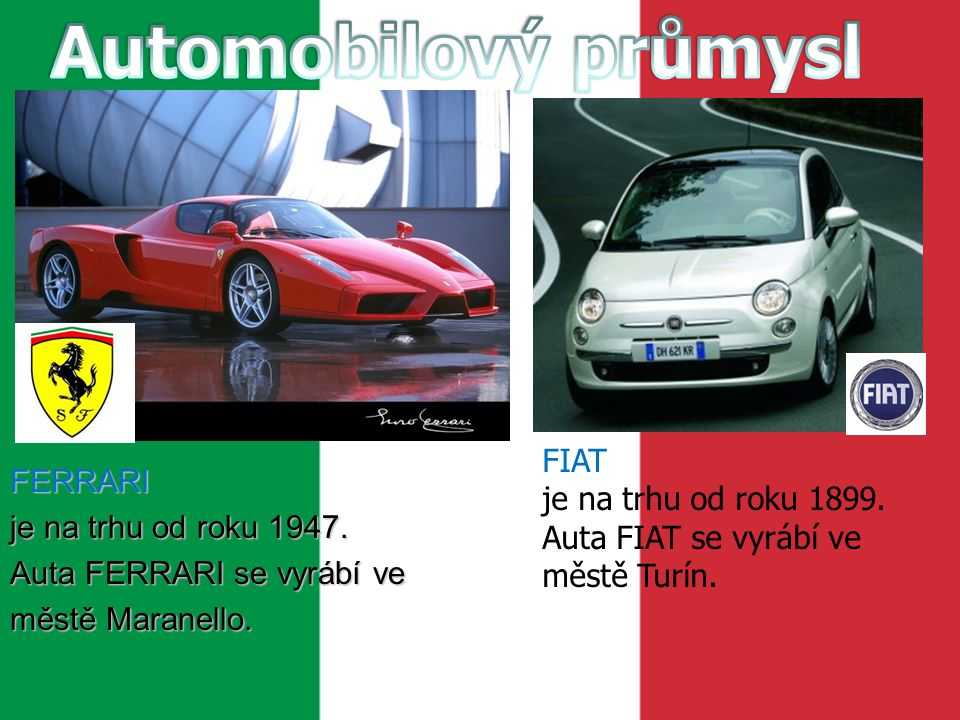 Automobilový průmysl FIAT FERRARI
