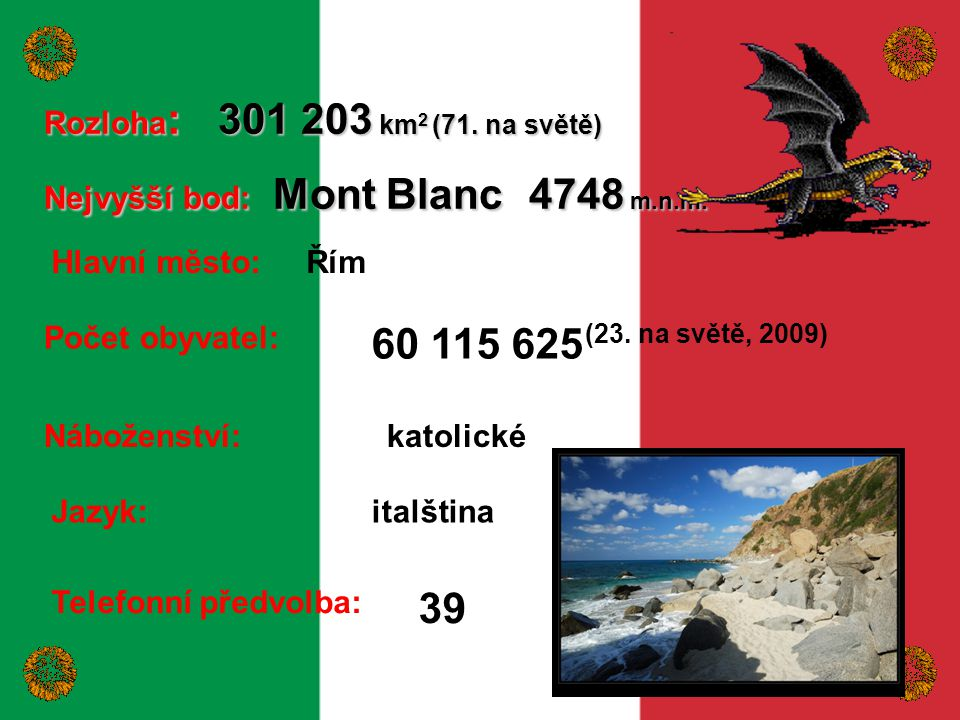 60 115 625 (23. na světě, 2009) 39 Rozloha: 301 203 km2 (71. na světě)