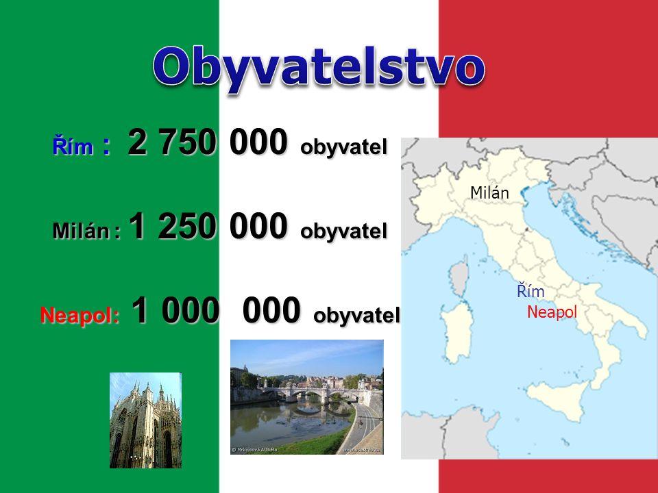 Obyvatelstvo Řím : 2 750 000 obyvatel Milán : 1 250 000 obyvatel