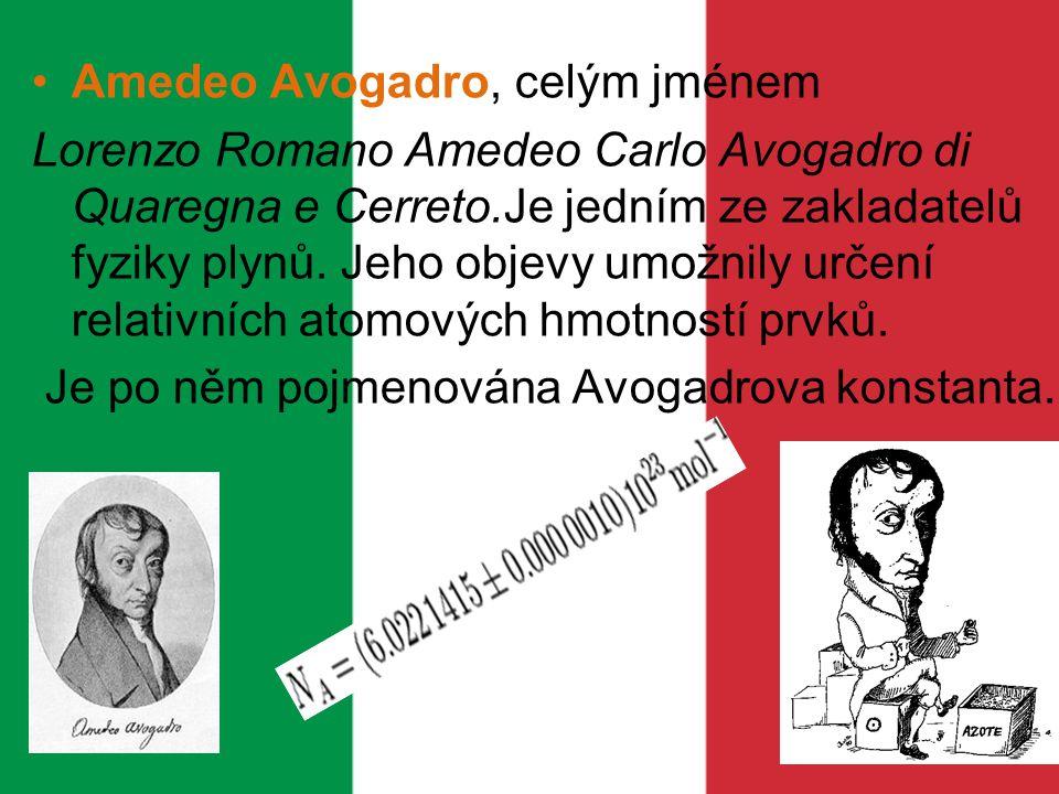 Amedeo Avogadro, celým jménem