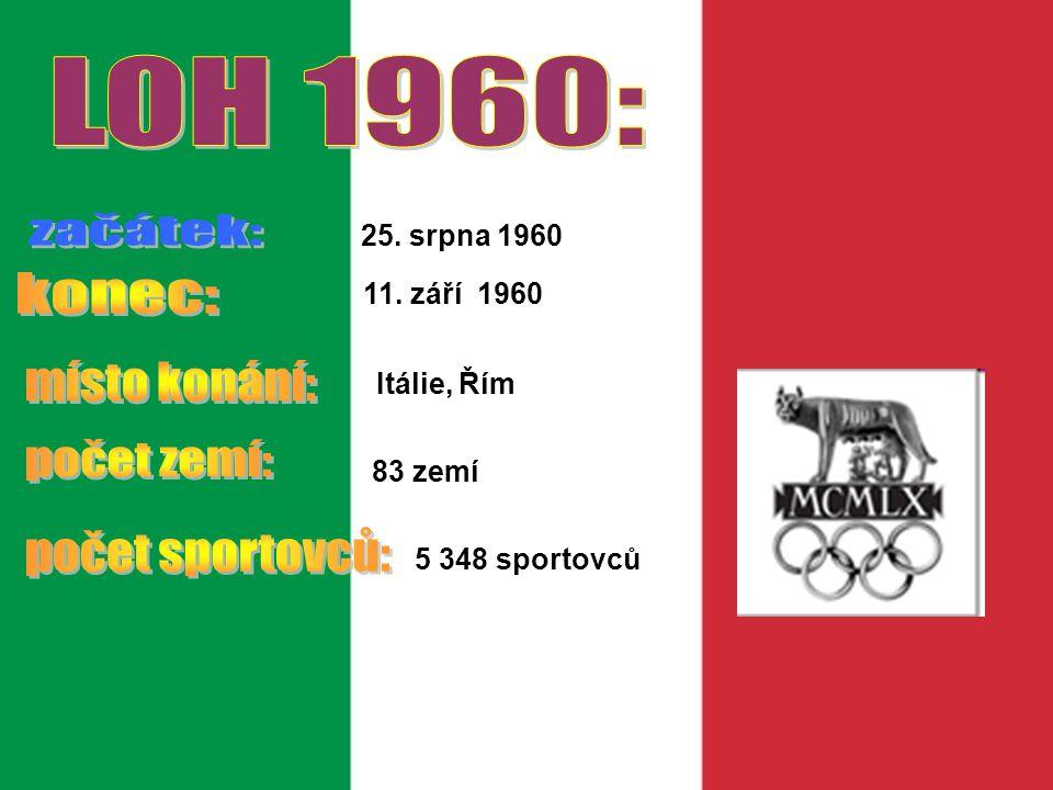 LOH 1960: začátek: konec: místo konání: počet zemí: počet sportovců: