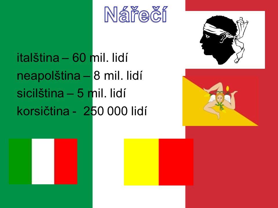 Nářečí italština – 60 mil. lidí neapolština – 8 mil.