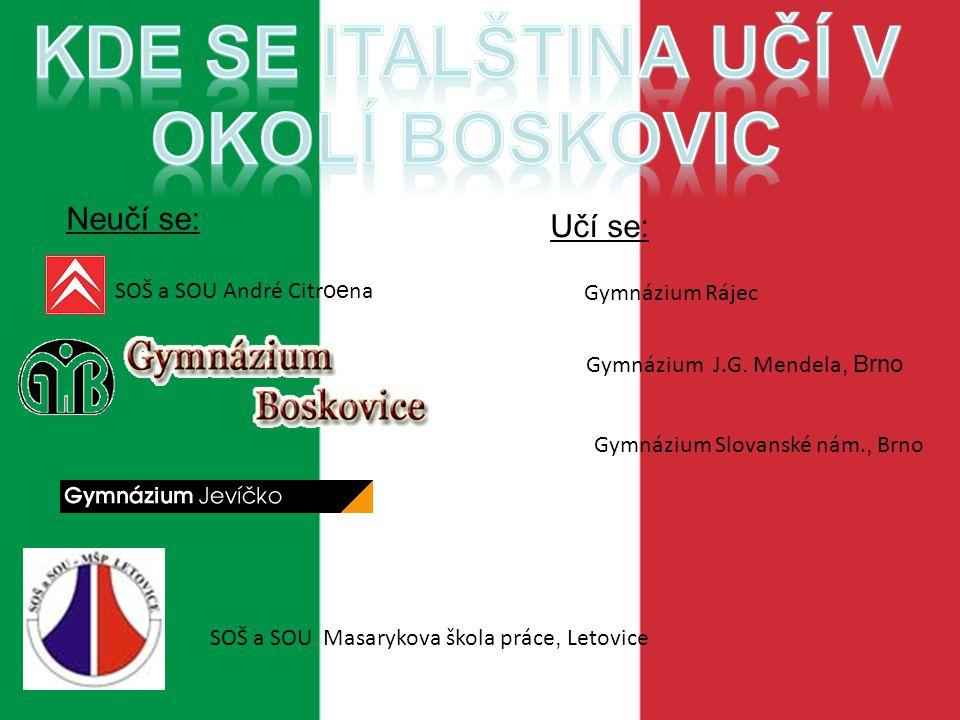 Kde se italština učí v okolí Boskovic