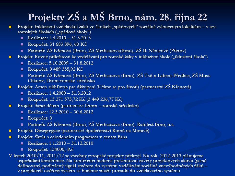 Projekty ZŠ a MŠ Brno, nám. 28. října 22