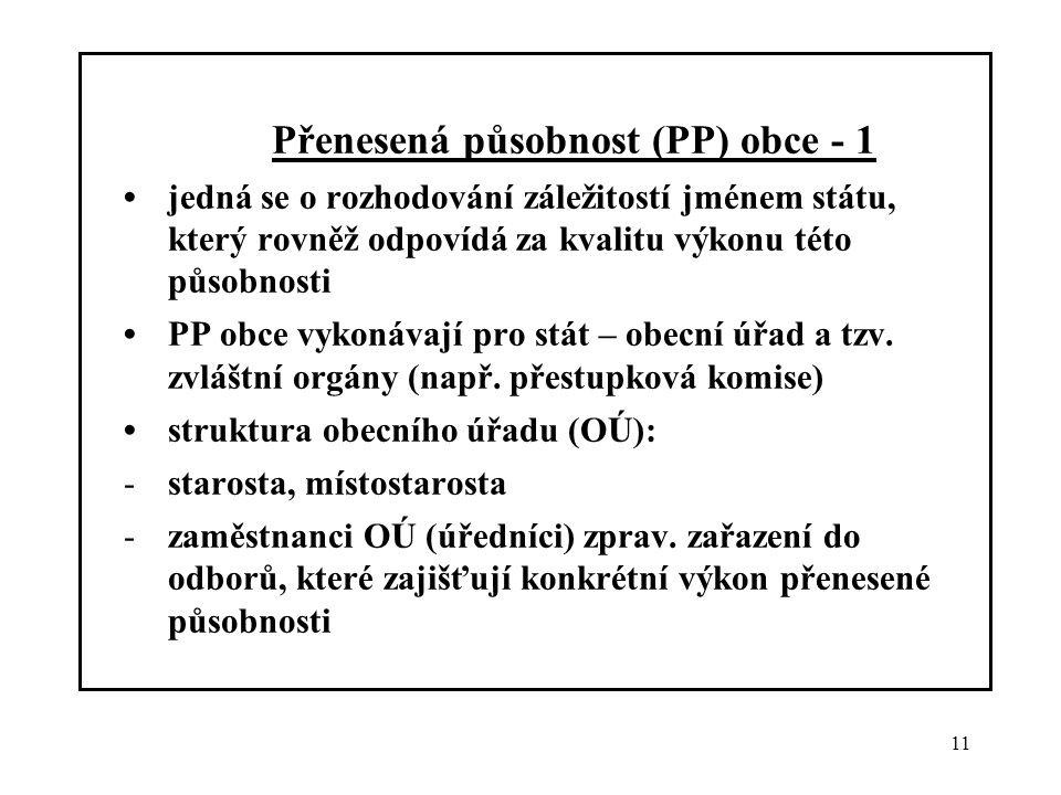 Přenesená působnost (PP) obce - 1