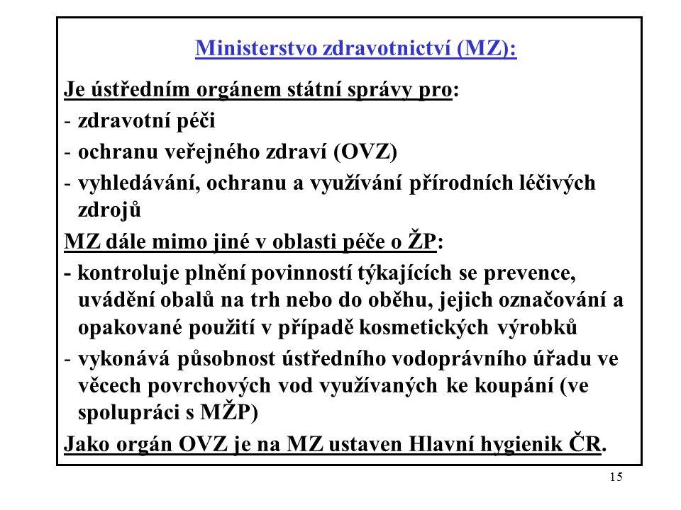 Ministerstvo zdravotnictví (MZ):