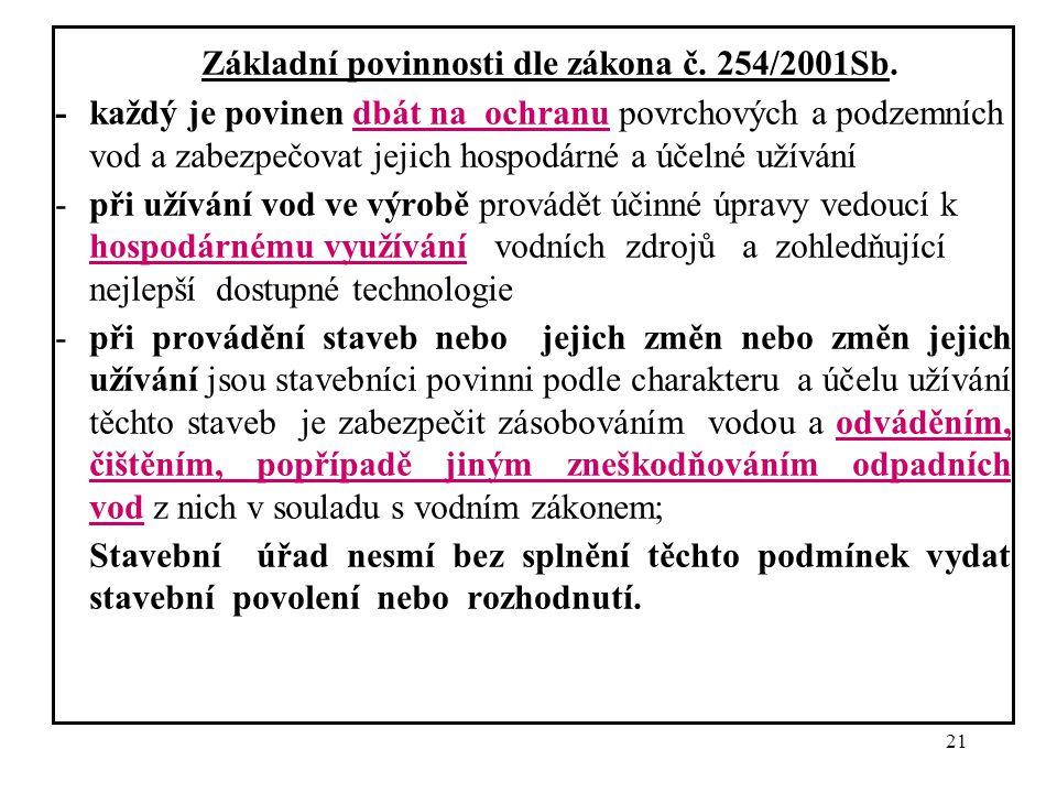Základní povinnosti dle zákona č. 254/2001Sb.