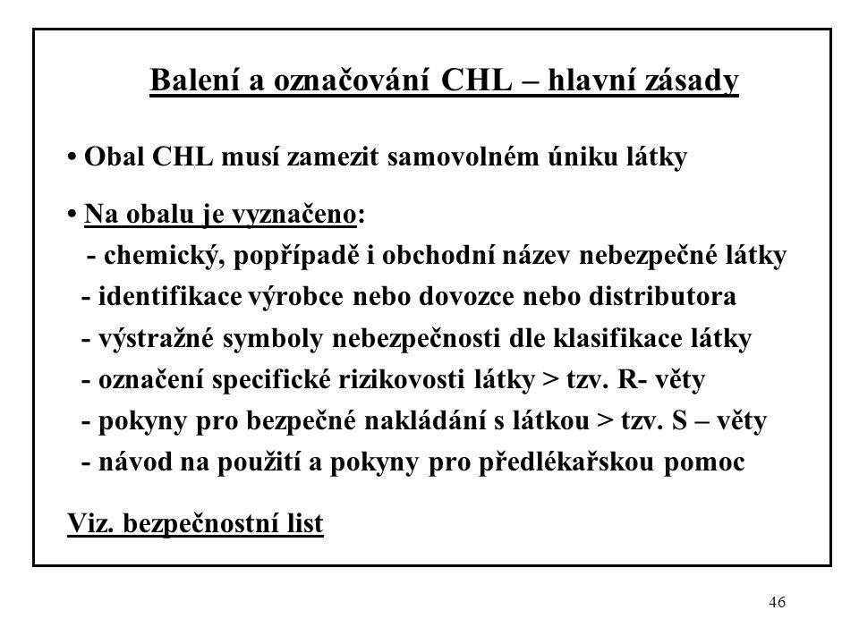 Balení a označování CHL – hlavní zásady