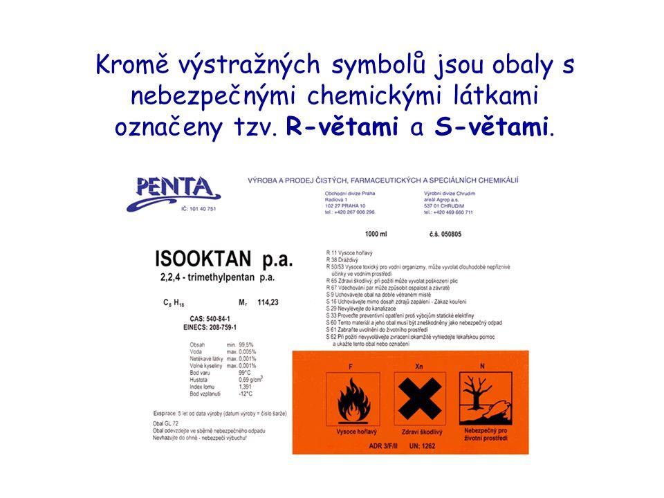 Kromě výstražných symbolů jsou obaly s nebezpečnými chemickými látkami označeny tzv.