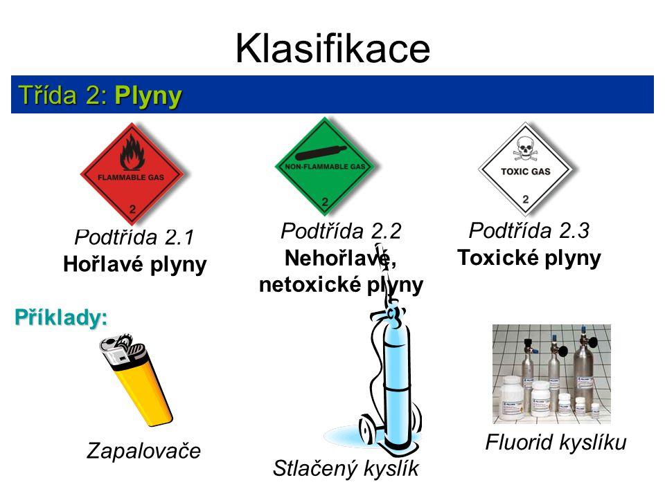 Klasifikace Třída 2: Plyny Podtřída 2.2 Nehořlavé, netoxické plyny