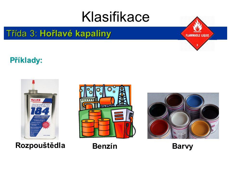 Klasifikace Třída 3: Hořlavé kapaliny Příklady: Rozpouštědla Benzín