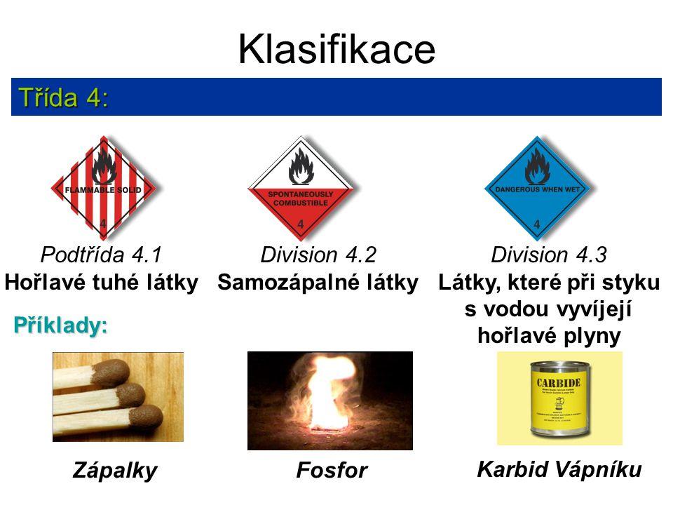 Klasifikace Třída 4: Podtřída 4.1 Hořlavé tuhé látky