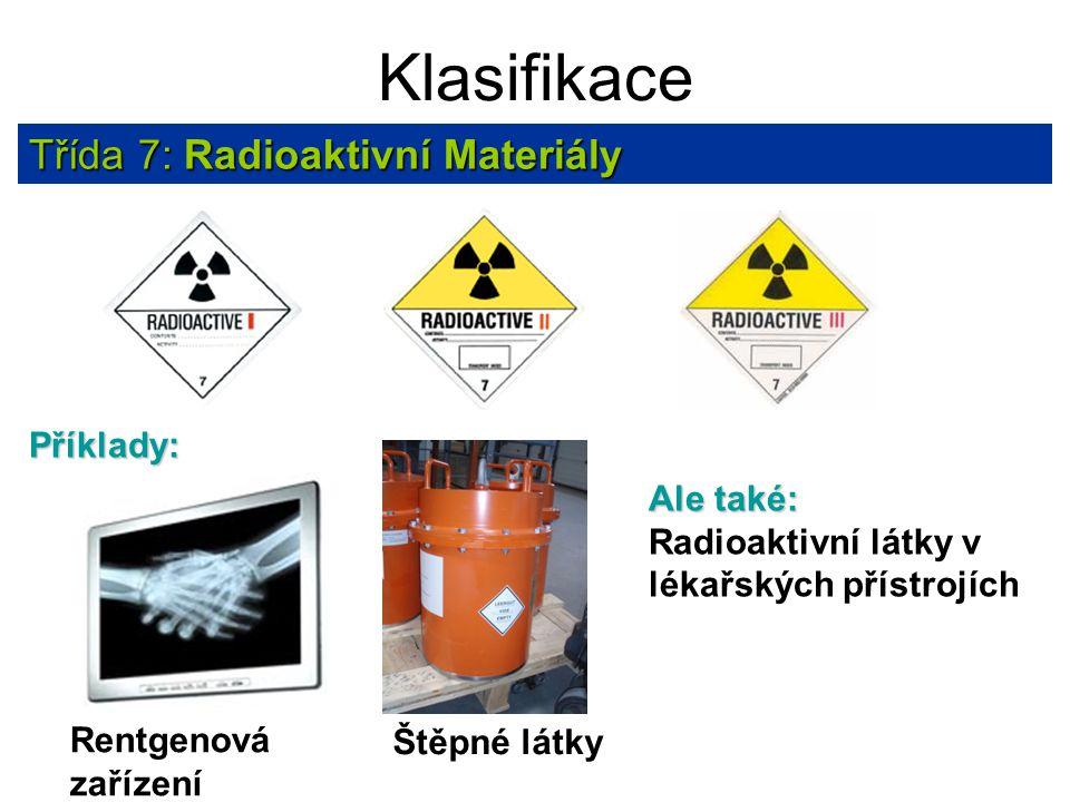 Klasifikace Třída 7: Radioaktivní Materiály Příklady: Ale také: