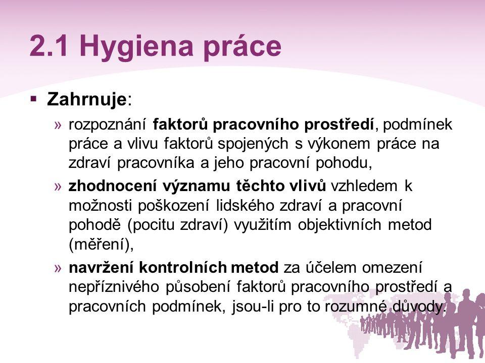 2.1 Hygiena práce Zahrnuje: