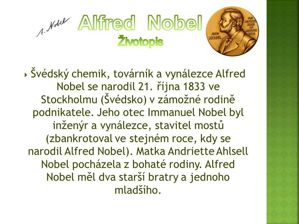 Alfred Nobel Životopis