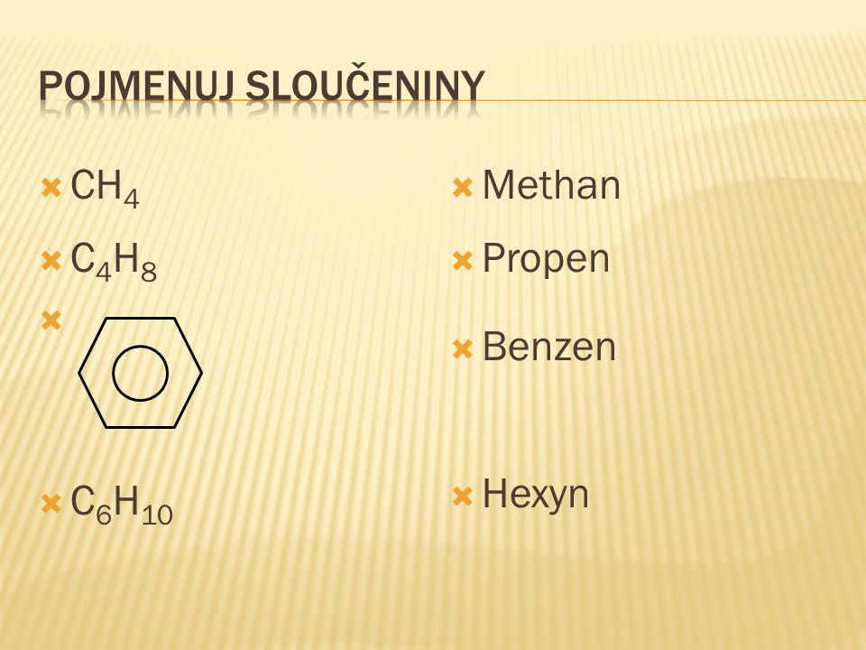 Pojmenuj sloučeniny CH4 C4H8 C6H10 Methan Propen Benzen Hexyn