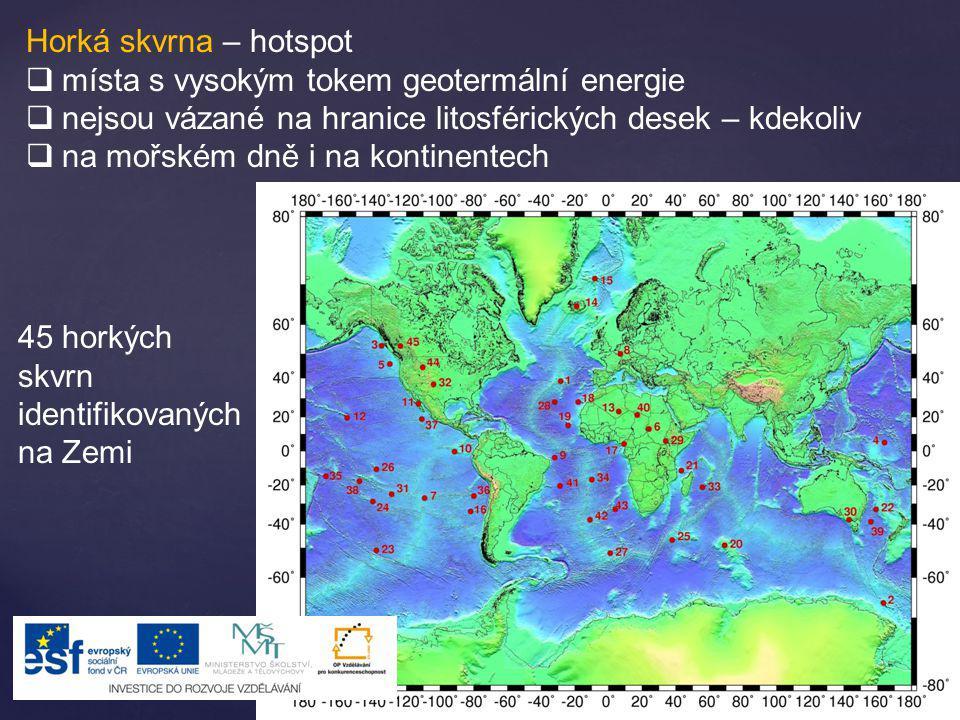 Horká skvrna – hotspot místa s vysokým tokem geotermální energie. nejsou vázané na hranice litosférických desek – kdekoliv.