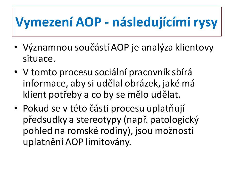 Vymezení AOP - následujícími rysy