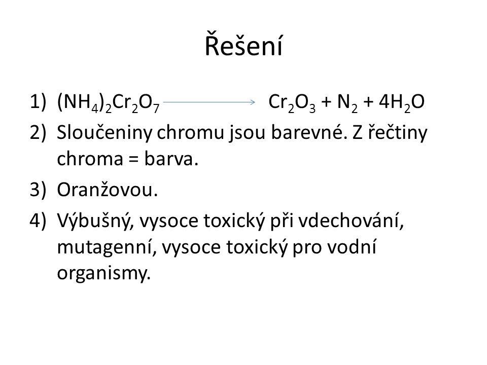 Řešení (NH4)2Cr2O7 Cr2O3 + N2 + 4H2O