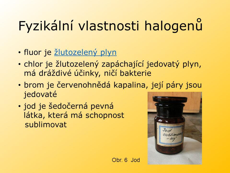 Fyzikální vlastnosti halogenů