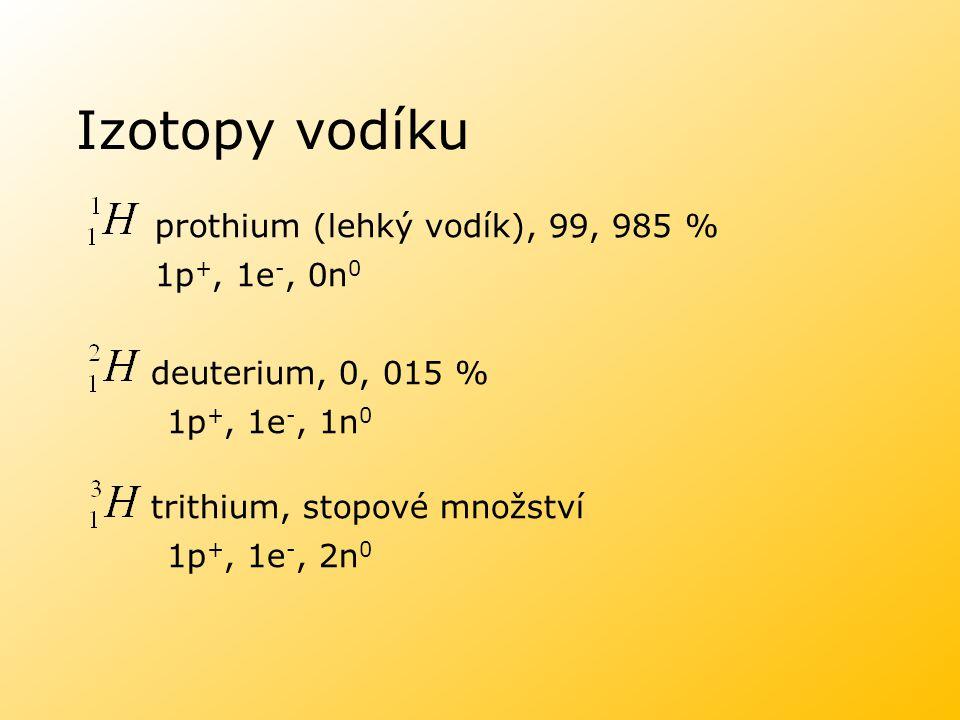 Izotopy vodíku prothium (lehký vodík), 99, 985 % 1p+, 1e-, 0n0