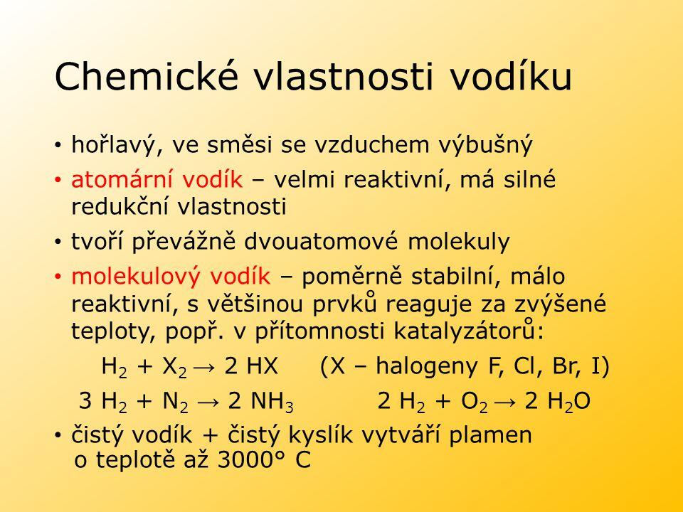 Chemické vlastnosti vodíku