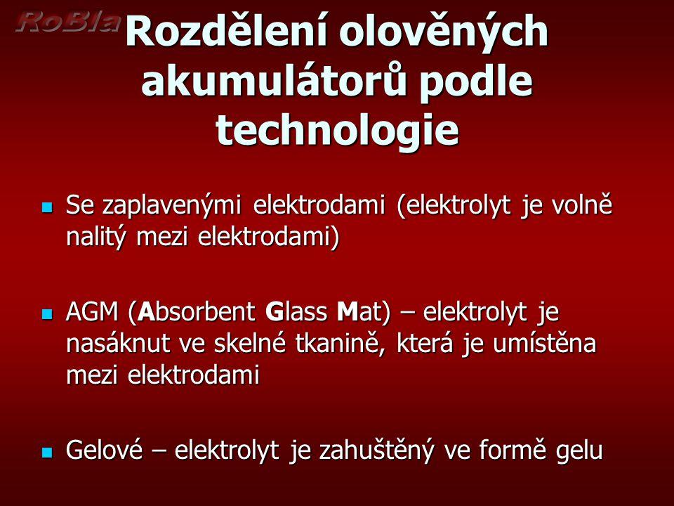 Rozdělení olověných akumulátorů podle technologie