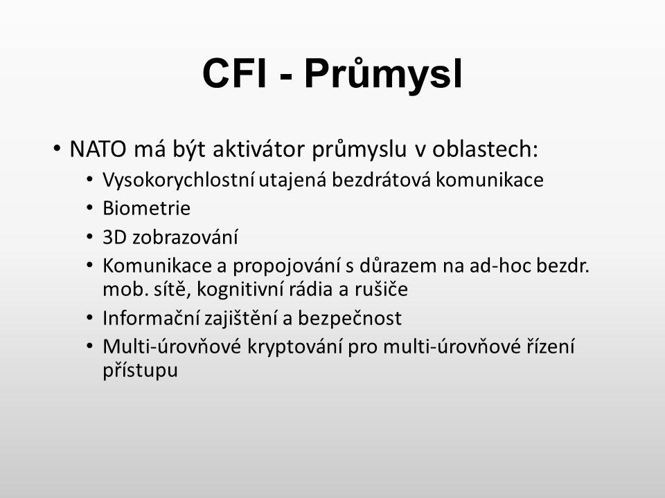 CFI - Průmysl NATO má být aktivátor průmyslu v oblastech: