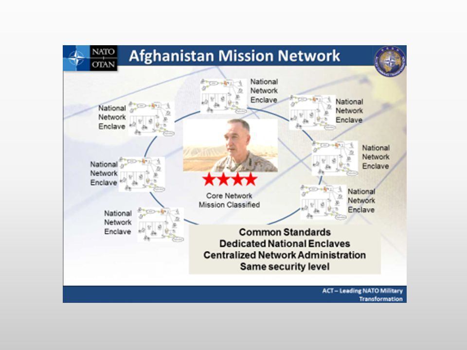 AMN is an intentional and practical application of NNEC and consists of the ISAF Secret network as the core with multiple national extensions. Individual activities required to be conducted by AMN Member nations in order to join the AMN include: